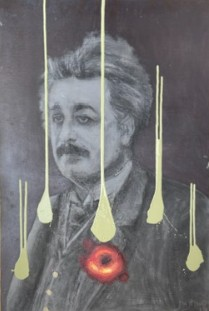 """Einstein 0"", Justino, acrílica e carvão, 2019."