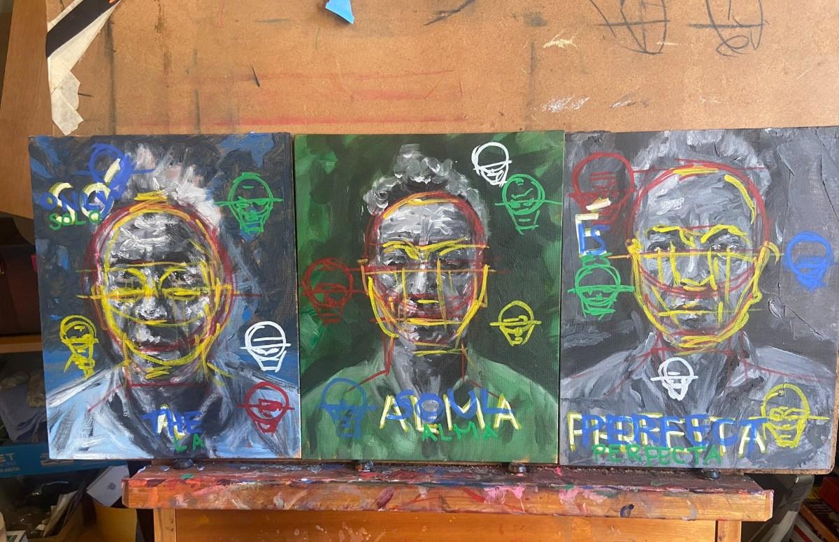 """Só a alma é perfeita"", Justino, óleo e acrílico em 3 canvas board, 2020."