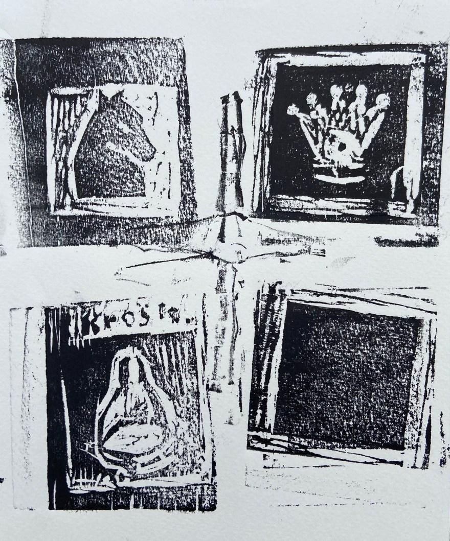 """O Dilema de Beth Harmon - 1: A Dama, O Cavalo, Marcel Duchamp ou uma Casa Preta?"", Justino, xilogravura, 2020."
