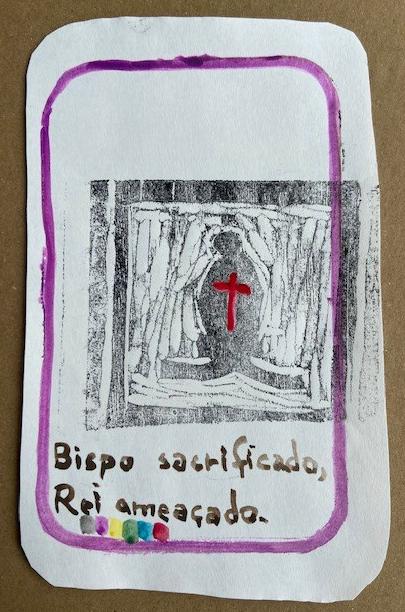 """""""Bispo sacrificado..."""", Justino, xilogravura e guache, 2020."""