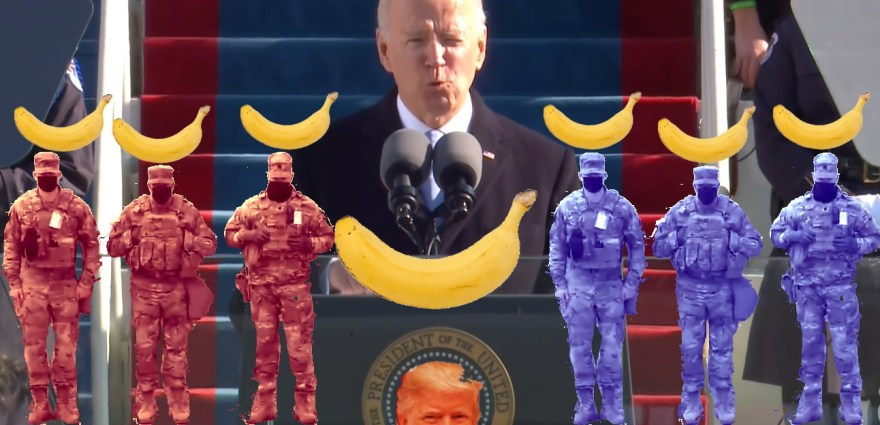 """46º Presidente"", Justino, Fotocolagem digital, 2021."
