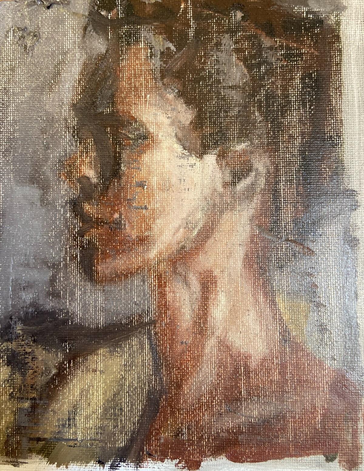 """""""Retratos Contemporâneos - 13: Stella"""", Justino, óleo em canvas board, 17 x 13,5 cm, 2021."""