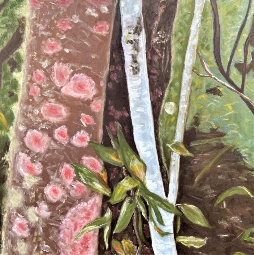 Mantiqueira: Começo, Meio e Fim - Parte 5, Justino, óleo em tela, 80 x 80 cm, 2021.