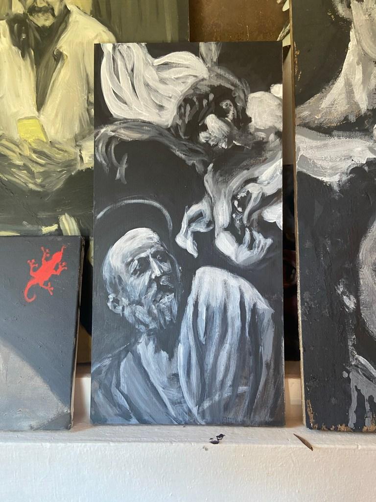 """""""São Mateus, après Caravaggio"""", Justino, Acrílica em tábua, 50 cm x 25 cm, 2021,"""