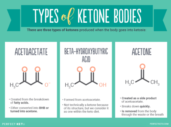 Type of ketone bodies show as an infographic