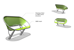 Sunflower public seating bench