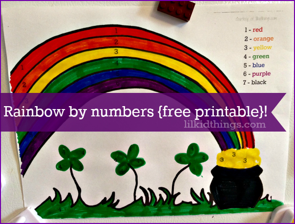 rainbow paint by numbers, st. patrick's day craft for kids, rainbow activity sheet, free printable, lilkidthings, andrea updyke