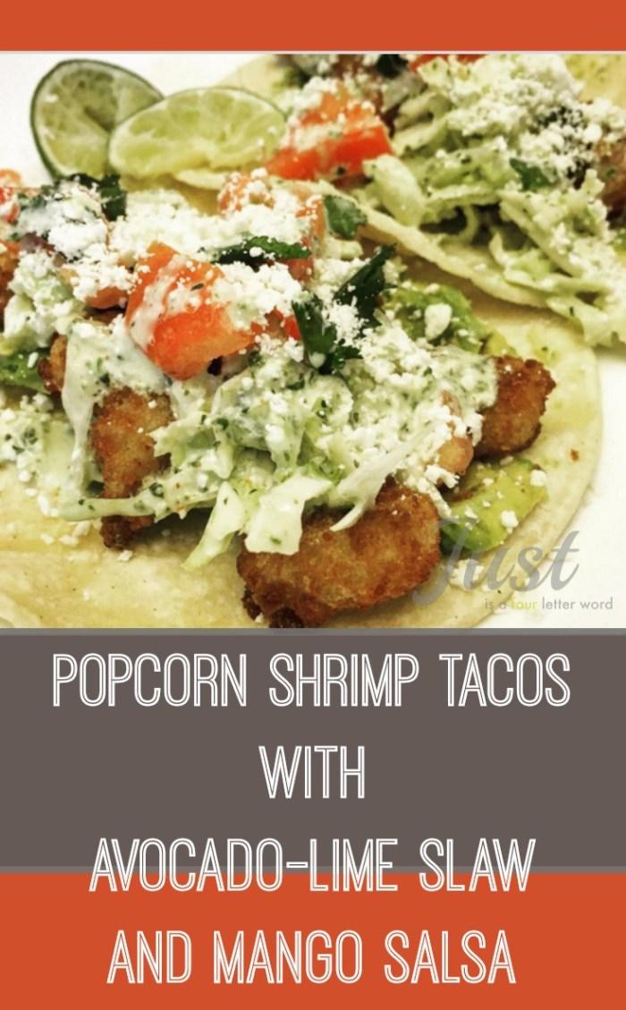 Popcorn Shrimp Tacos with Avocado-Lime Slaw and Mango Salsa