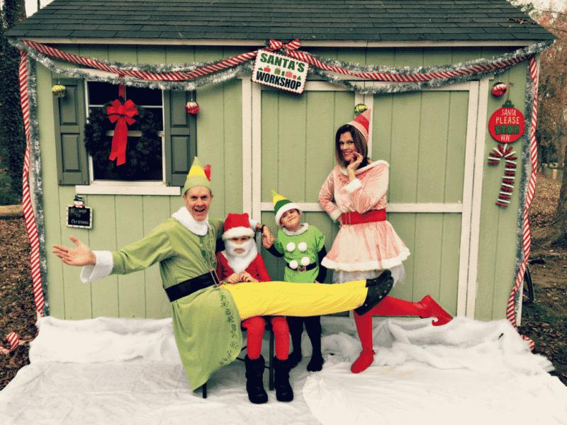 Updyke family dressed as elves for their Christmas Card 2016