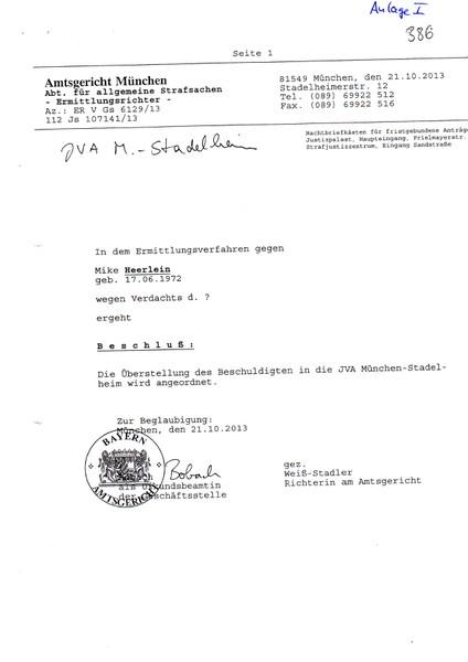 Beachten Sie: Als Straftat ist ein ? Fragezeichen angegeben. Die Deutsche/Bayerische Justiz dreht durch!