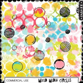 Digital Scrapbooking Commercial Use - Mixed Media - Circles Brushes