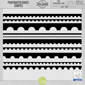 Digital Scrapbooking - Perforated Borders Custom Shapes