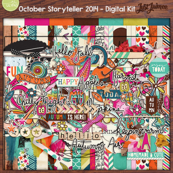 Who says that fall has to be all oranges and browns? Bring some vibrancy to your fall projects with this gorgeous Storyteller installment. Build unique scrapbook page with hand-drawn doodles alongside crisp cutouts and vivid paints. Autumn's colors may not last, but this kit will!  The rich color palette and lively assortment in October's Storyteller will keep you enjoying this bundle all year long.