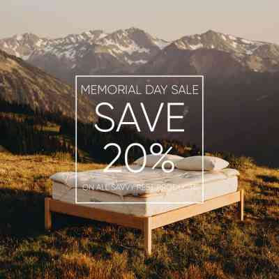 memorial day sale. save 20% on all savvy rest products