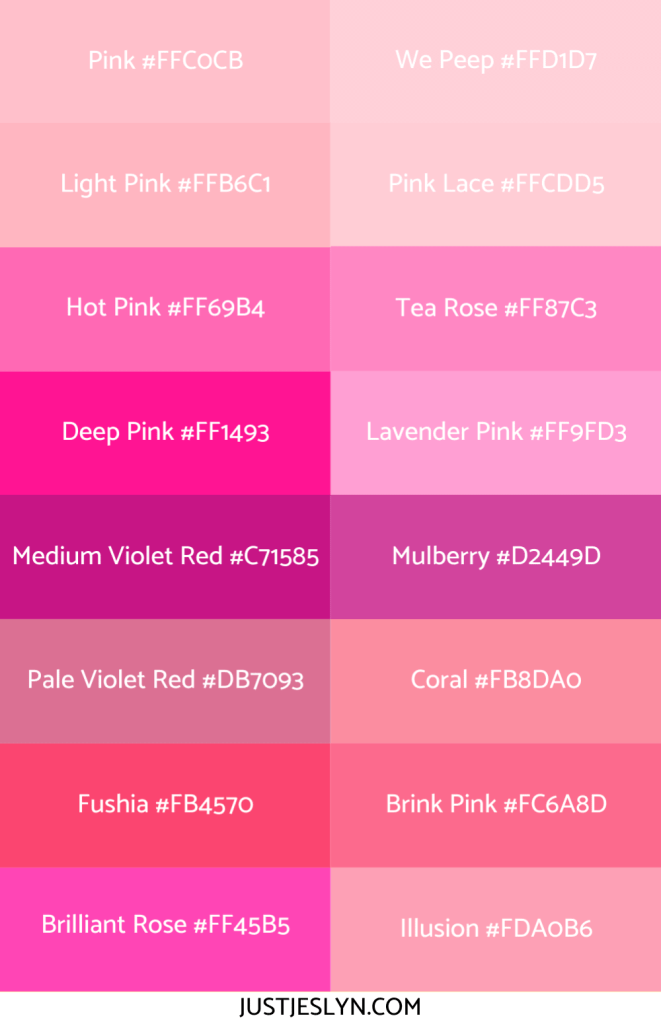 Names for Colors to Inspire Your Next Project (With Hex Codes!) | Names for Pink | Just Jes Lyn
