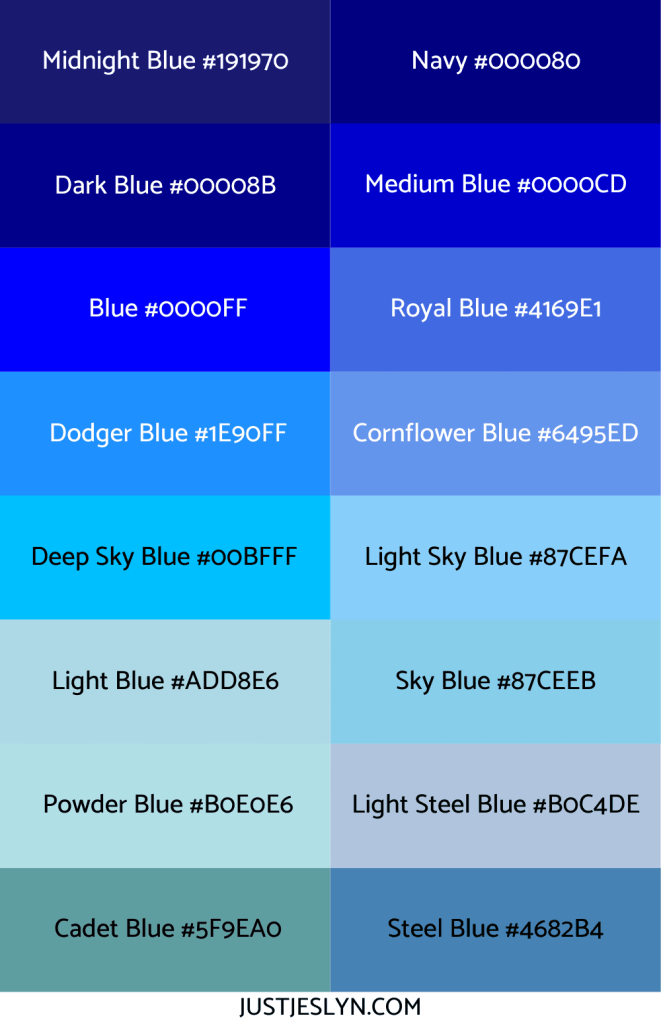 Names for Colors to Inspire Your Next Project (With Hex Codes!) | Names for Blue | Just Jes Lyn