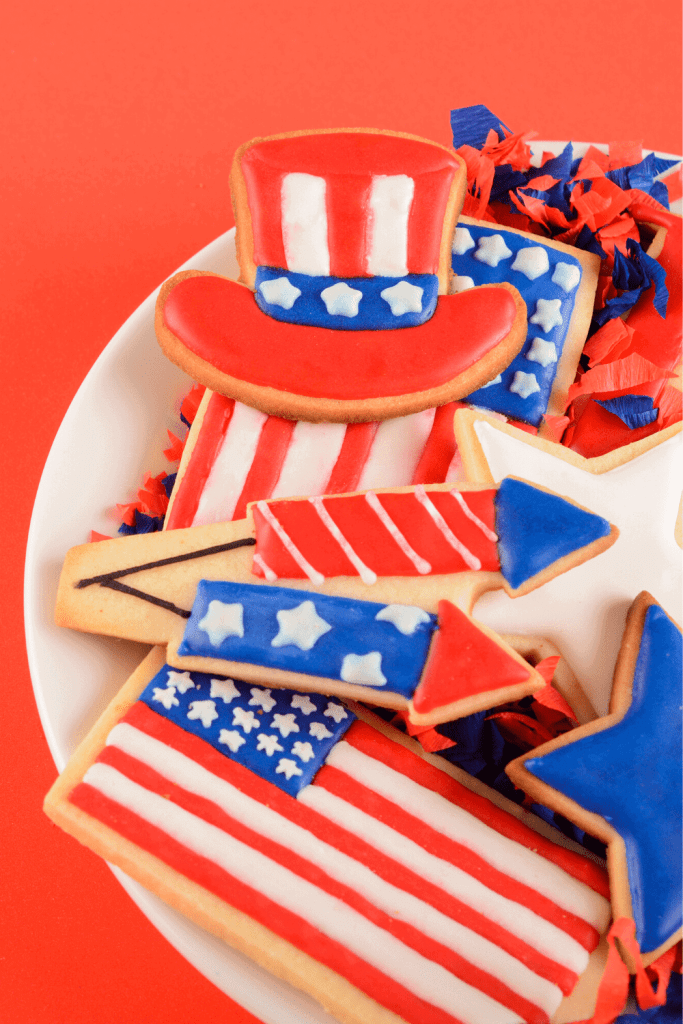 Everyone loves cookies. Grab some patriotic cookies at your local grocery store or try making them yourself! - Just Jes Lyn