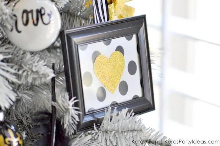 DIY Black, Gold + White Frame Christmas Tree Ornaments