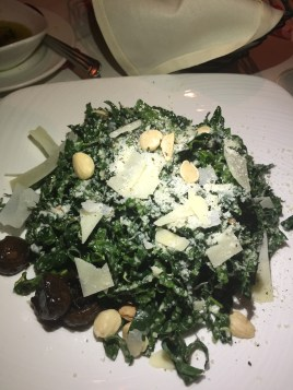 Kale Salad with Marcona Almonds, Parmesan, Marinated Button Mushrooms