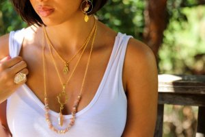 Hand of Fatima Sunstone Chips Layered Necklace