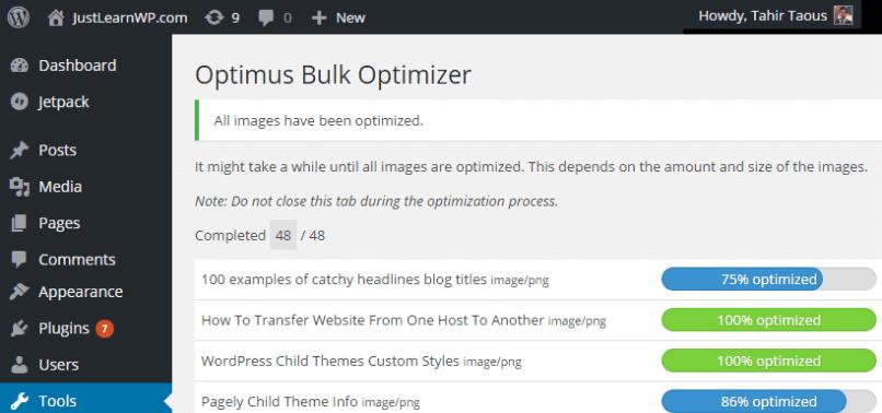 Optimus bulk Image Optimization compression free plugin