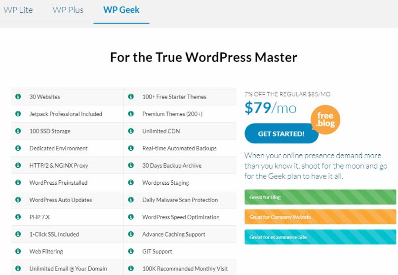 WPGeek Plan WPWebHost Review