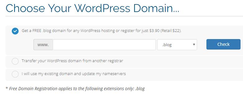 choose free .BLOG domain