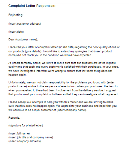 Complaint Letter Response Example Rejecting Just Templates