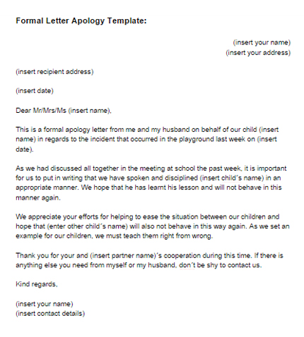 Apology Template for customer of customer format of apology – Letter of Apology Example