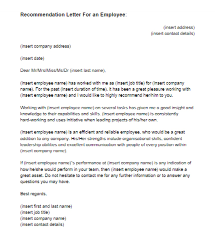 Cover letter referral from employee