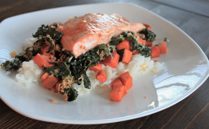 crispy coconut kale, roasted salmon & coconut rice
