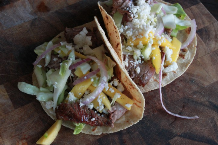 Lemon Pepper Flank Steak Tacos w/ Mango Cabbage Slaw