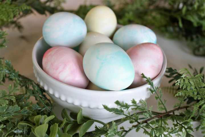 Whip Cream Dyed Easter Eggs
