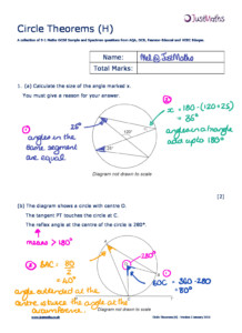 Geometry – H – Circle Theorems v2 – Solutions
