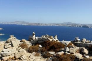Mt Kynthos view to Mykonos