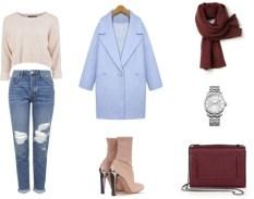 ¡Para mí es el look perfecto! Jeans rotos, botines de piel y abrigo oversize. El azul serenity es el otro color del año, que junto al burdeos forman la combinación perfecta!