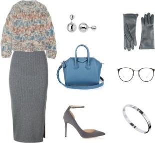 Look perfecto para la oficina. Jersey gordito, falda midi y stilettos. Además, es muy importante un bolso todoterreno para todo el día. ¡Perfecta desde por la mañana hasta por la noche!