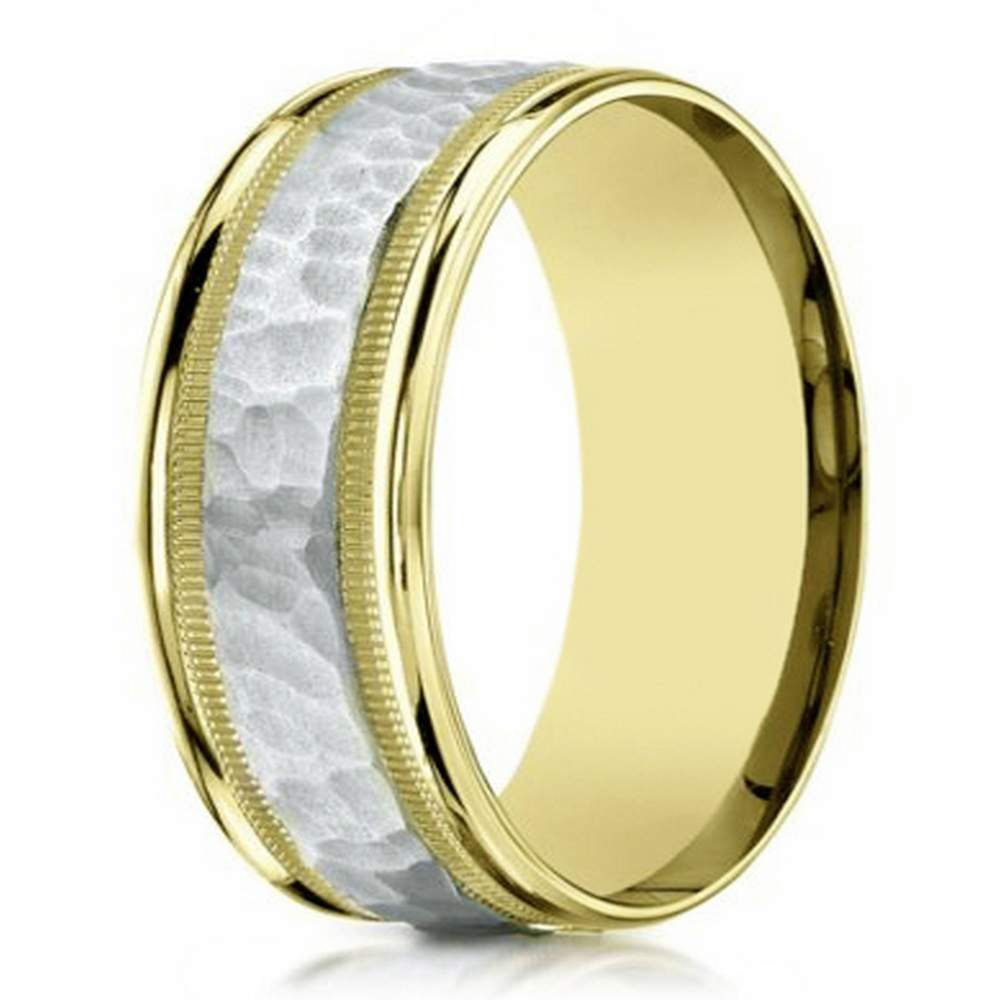 8mm Mens Two Tone 14k Yellow Gold Hammered Center Wedding
