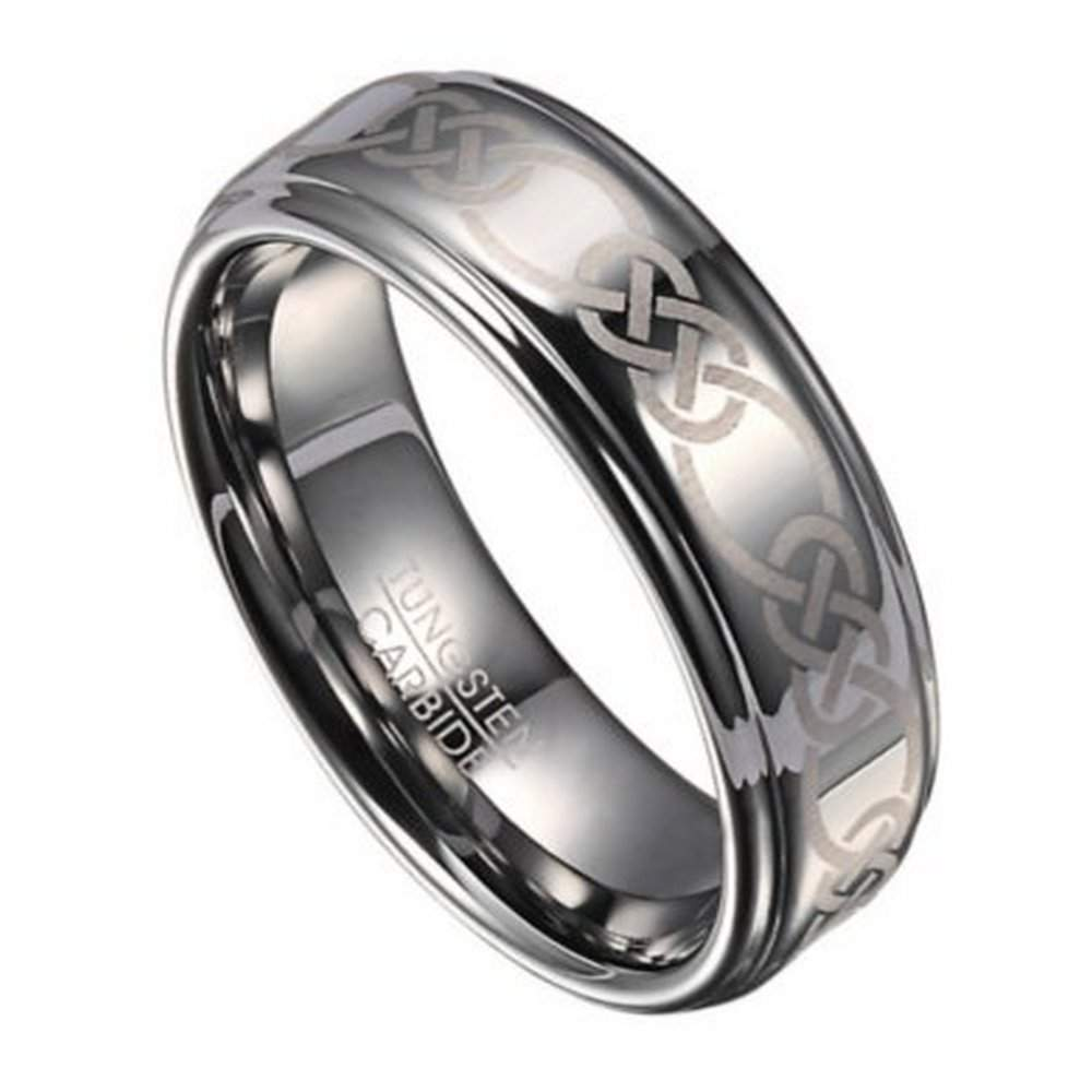 8mm Celtic Knot Mens Tungsten Wedding Band With Polished