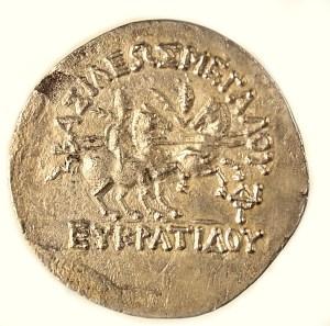 Bactria, Eukradites, silver tetradrachm, ca. 171–145 BCE. Reverse.
