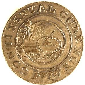 Continental Dollar. Tin. 1776. Obverse.