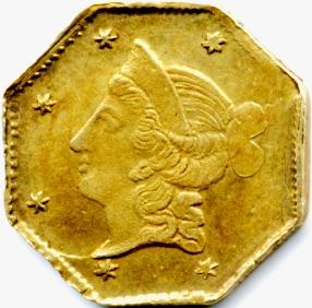 USA. Gold dollar obverse of Deriberpe, M. San Francisco Calif. 1853