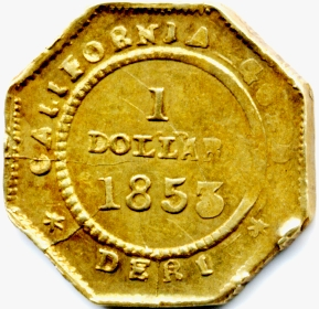 USA. Gold dollar reverse of Deriberpe,M.San Francisco Calif. 1853