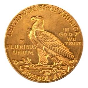 USA. Gold coin. Reverse. 5 dollar. Philadelphia. 1908