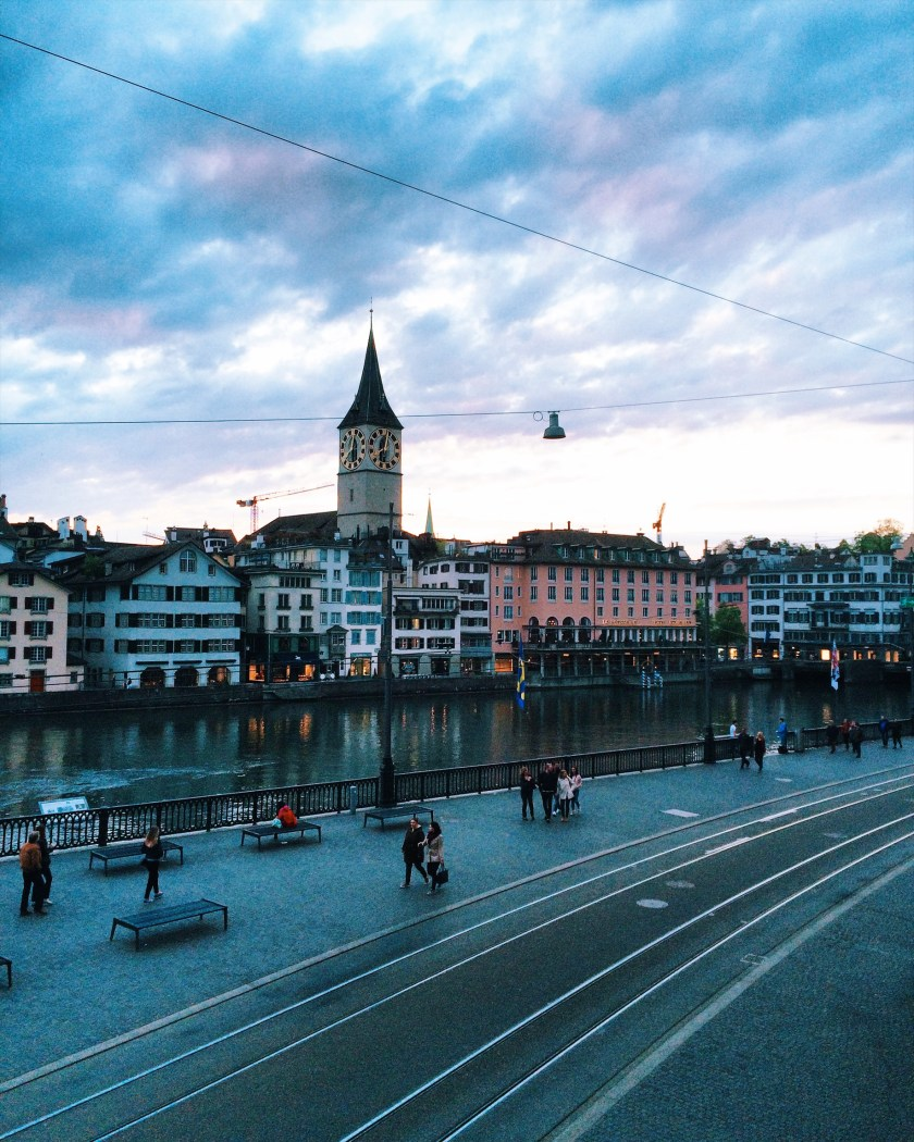View of Zurich St. Peter church sunset