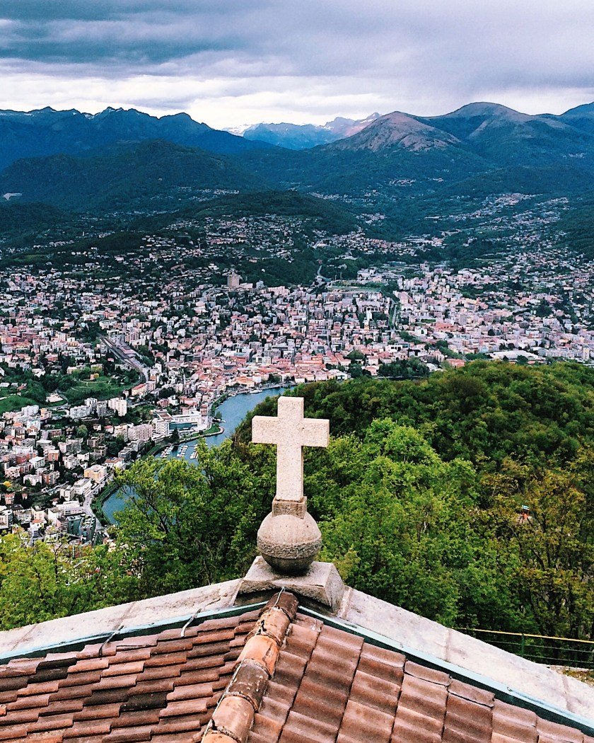 View from Monte San Salvatore in Lugano, Switzerland
