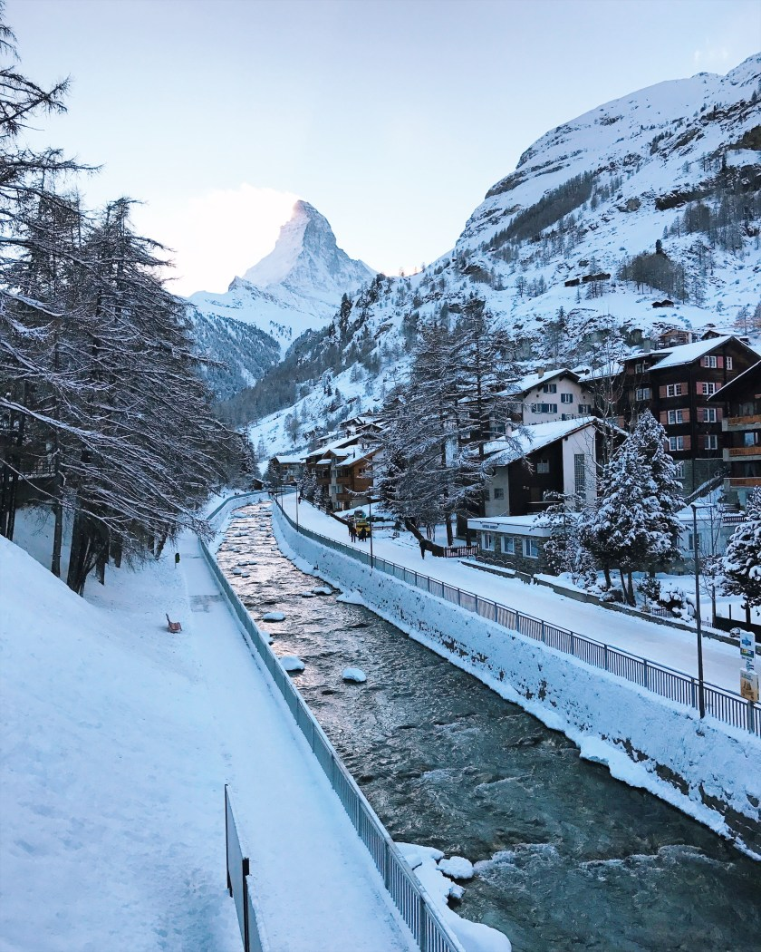 Matterhorn view from bridge in Zermatt village