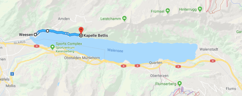 Map of our hike along Walensee