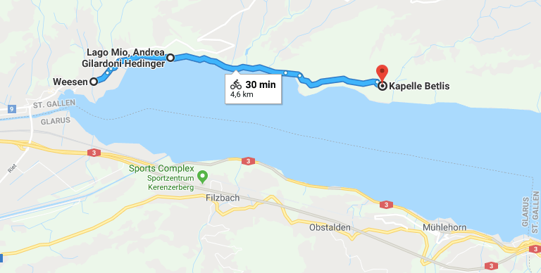 Map of our hiking route along Walensee