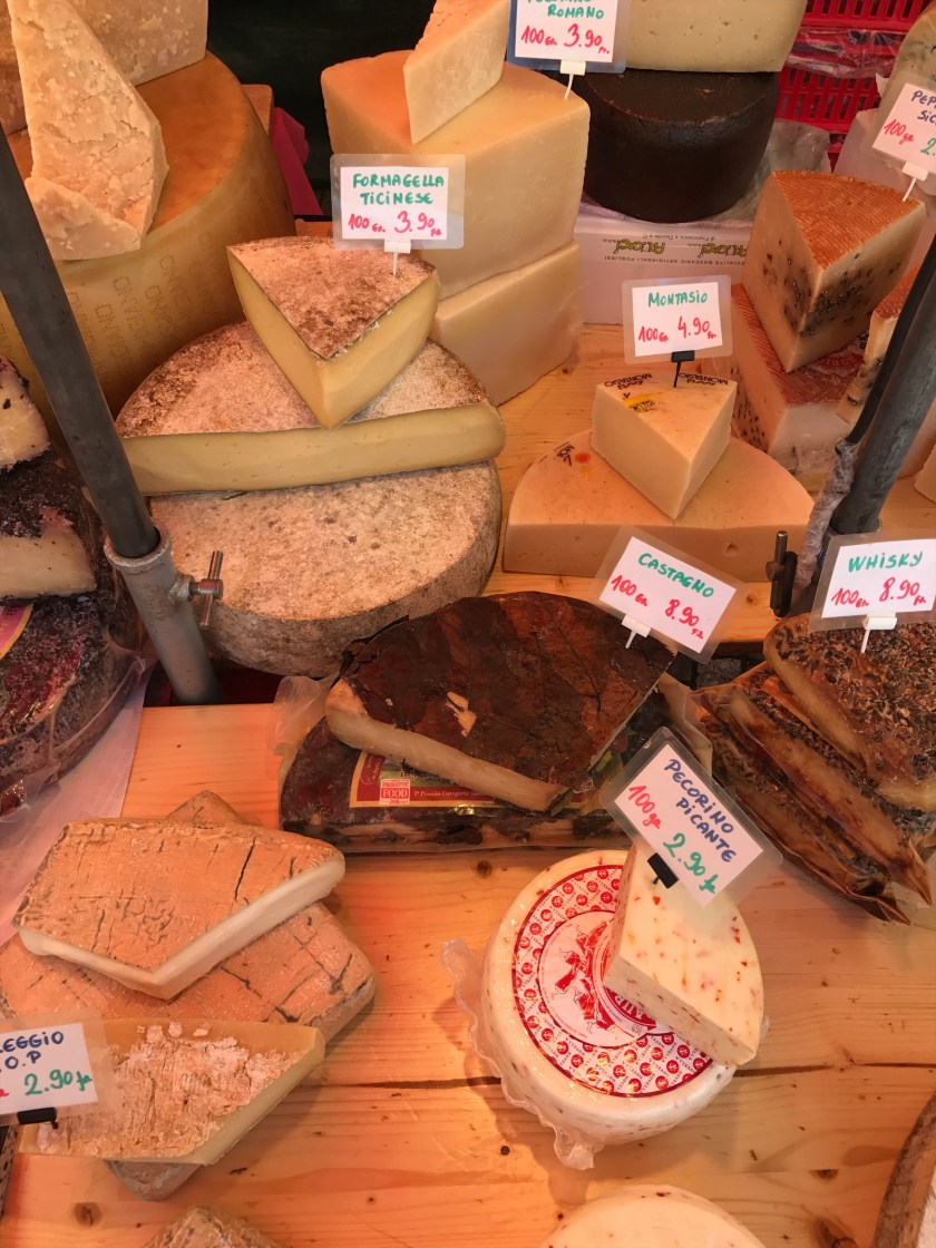 Cheese stalls at Helvetiaplatz Farmers Market in Zurich
